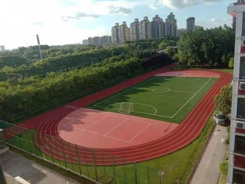 上海松江学校操场新团标透气型塑胶跑道施工已竣工投入使用