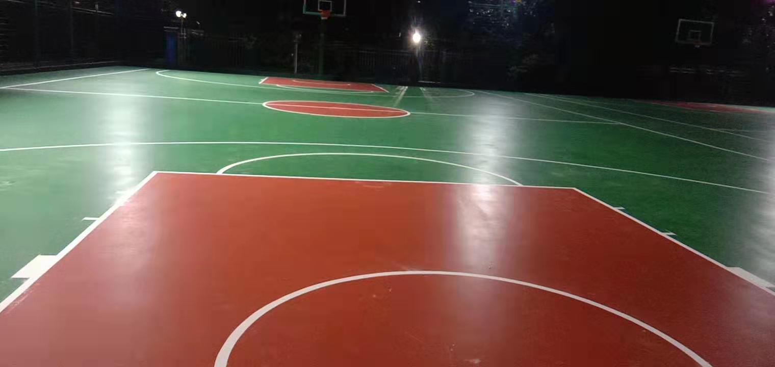 武汉青浦小区篮球场硅PU地坪施工